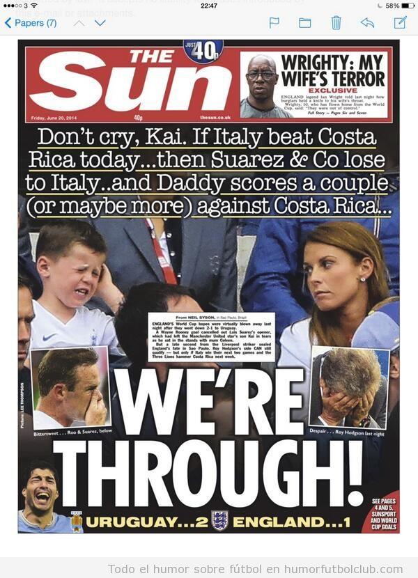 Portada The Sun tras derrota Inglaterra ante Uruguay en Mundial 14