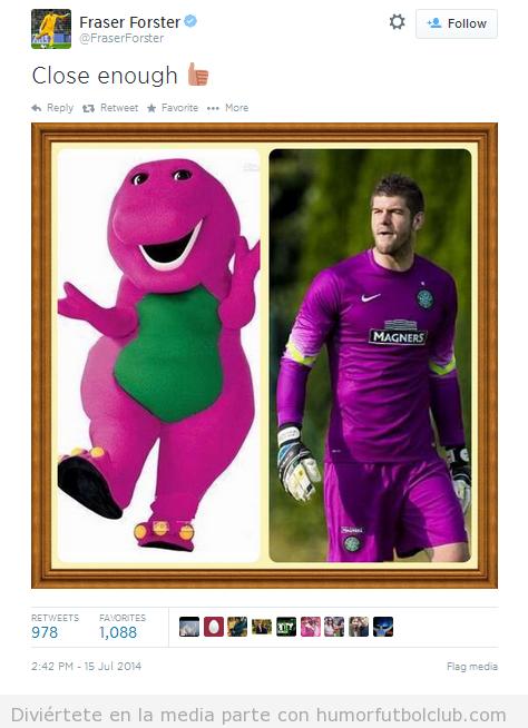 Parecido razonable protero Celtic con Dinosaurio Barney