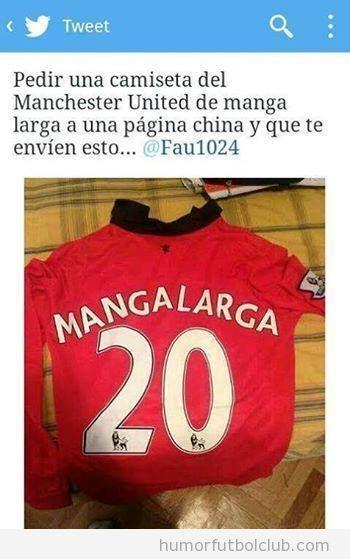 Camiseta Manchester United nombre Manga Larga