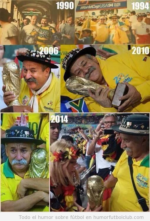 Historia del señor mayor brasileño abrazado a la copa del Mundo