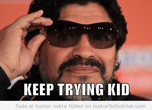 Meme gracioso Maradona sobre Messi en la final Mundial de Brasil