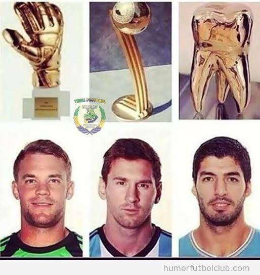 Premios Copa Mundo a Manuel Neuer, Messi y Luis Suárez