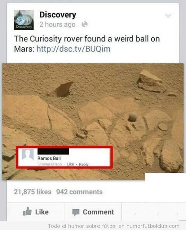 El balón de Sergio Ramos en Marte