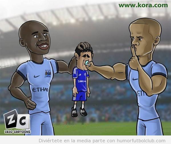Viñeta graciosa Diego Costa y los defensas del Manchester City