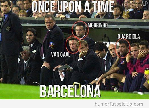 Foto antigua del Barça: Van Gaal, Mourinho y Guardiola en el mismo banquillo