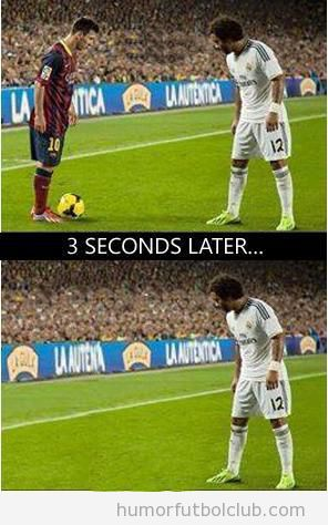Meme gracioso de Messi vs Marcelo