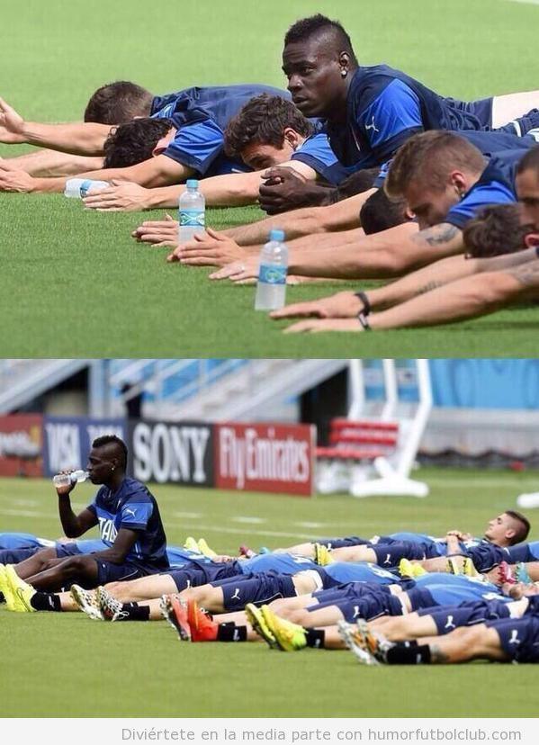 Foto graciosa Balotelli haciendo el vago en un entrenamiento