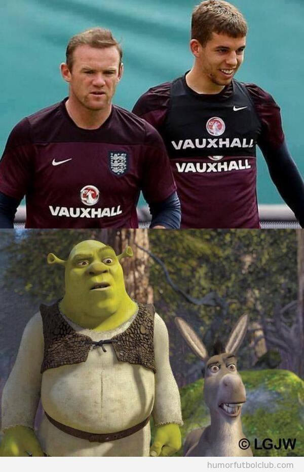 Foto graciosa parecido razonable Rooney y John Flanagan con Shrek