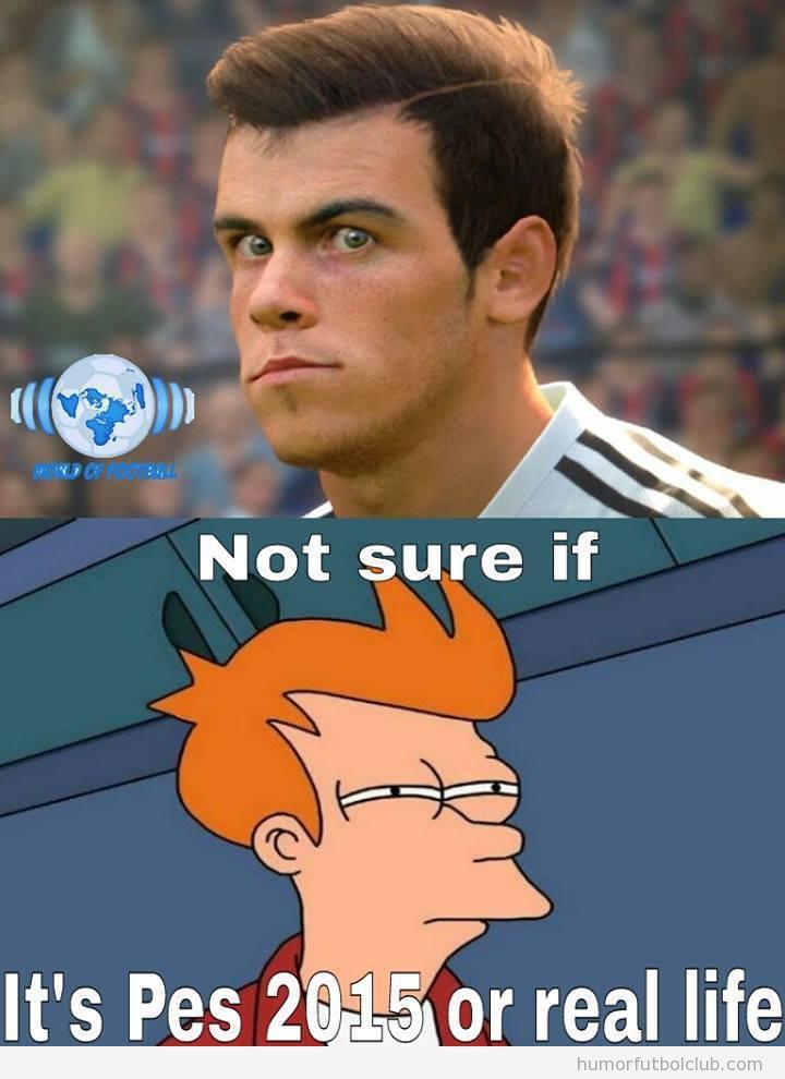 Meme gracioso Gareth Bale PES 15 y Futurama
