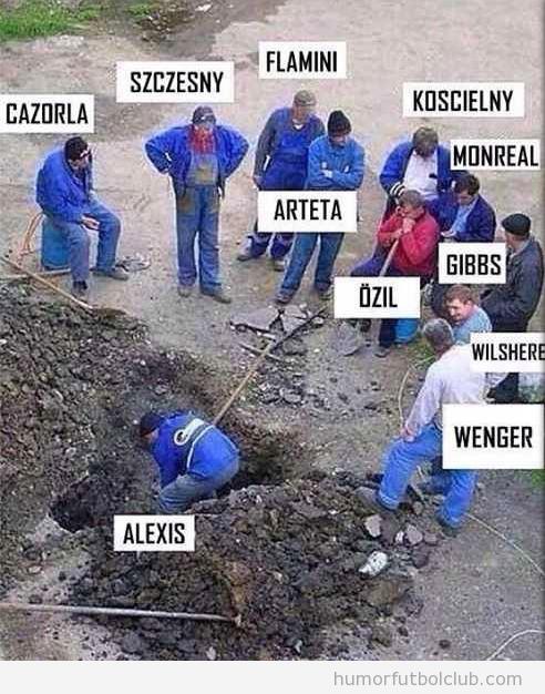 Meme gracioso Arsenal, sólo trabaja Alexis