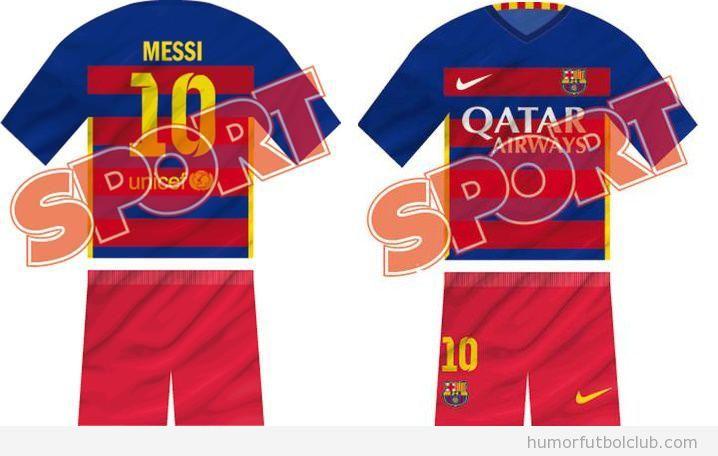 Diseño equipación Barça 2015 con rayas horizontales
