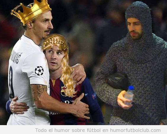 Fotomontaje gracioso, Messi abraza a Ibrahimovic tras Barça - PSG