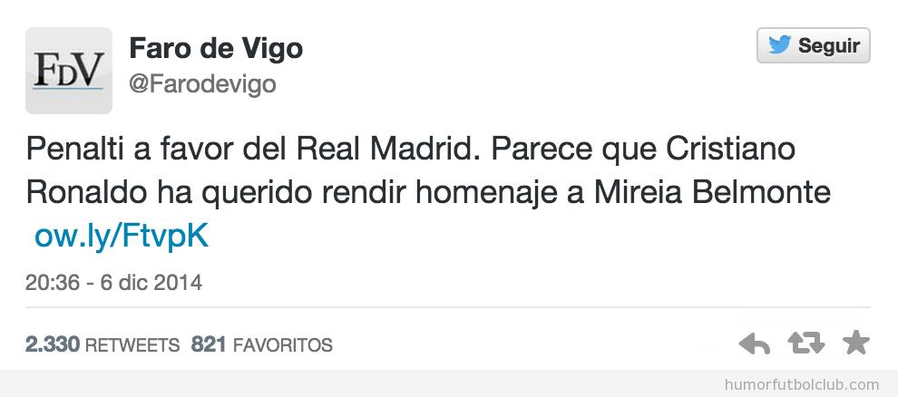 Tweet gracioso Faro de Vigo sobre piscinazo Cristiano Ronaldo