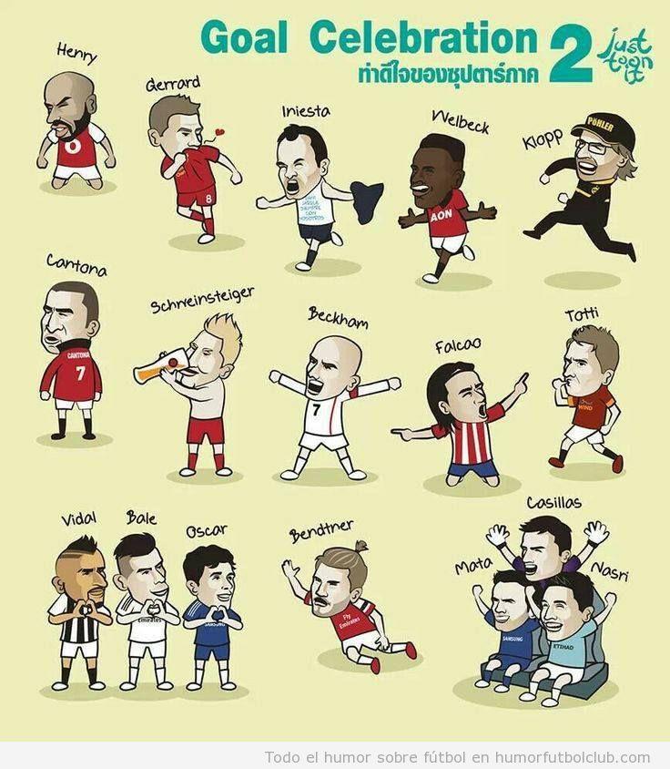 Viñeta graciosa futbolistas celebrando goles