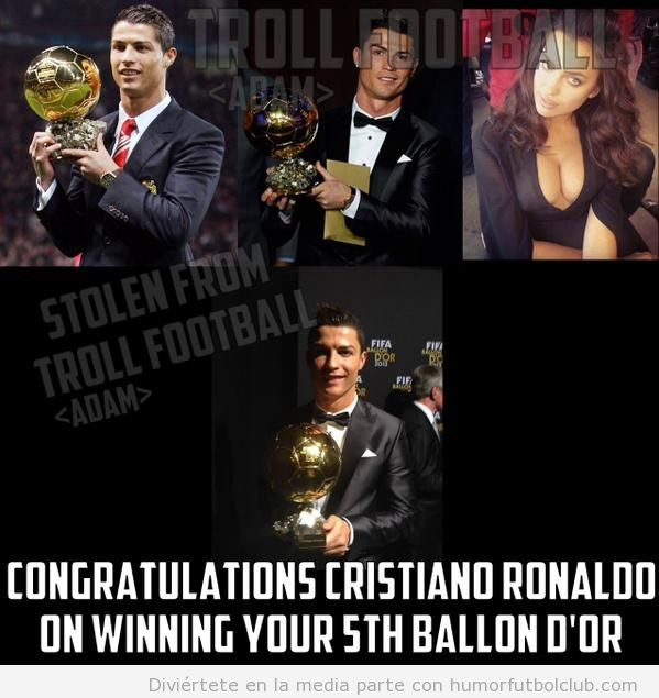 Meme gracioso Cristiano Ronaldo 5º Balón Oro