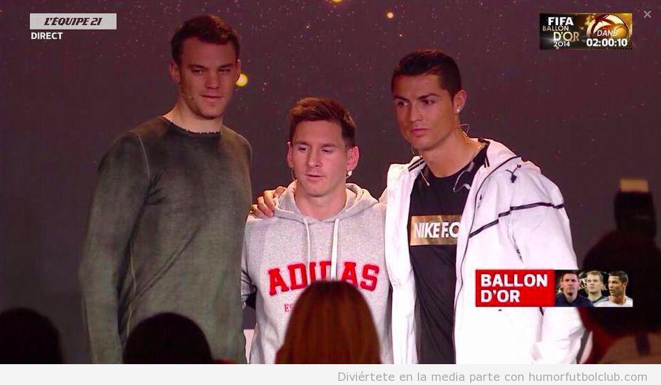 Foto Neuer, Messi y Cristiano Ronaldo antes gala del Balón de Oro