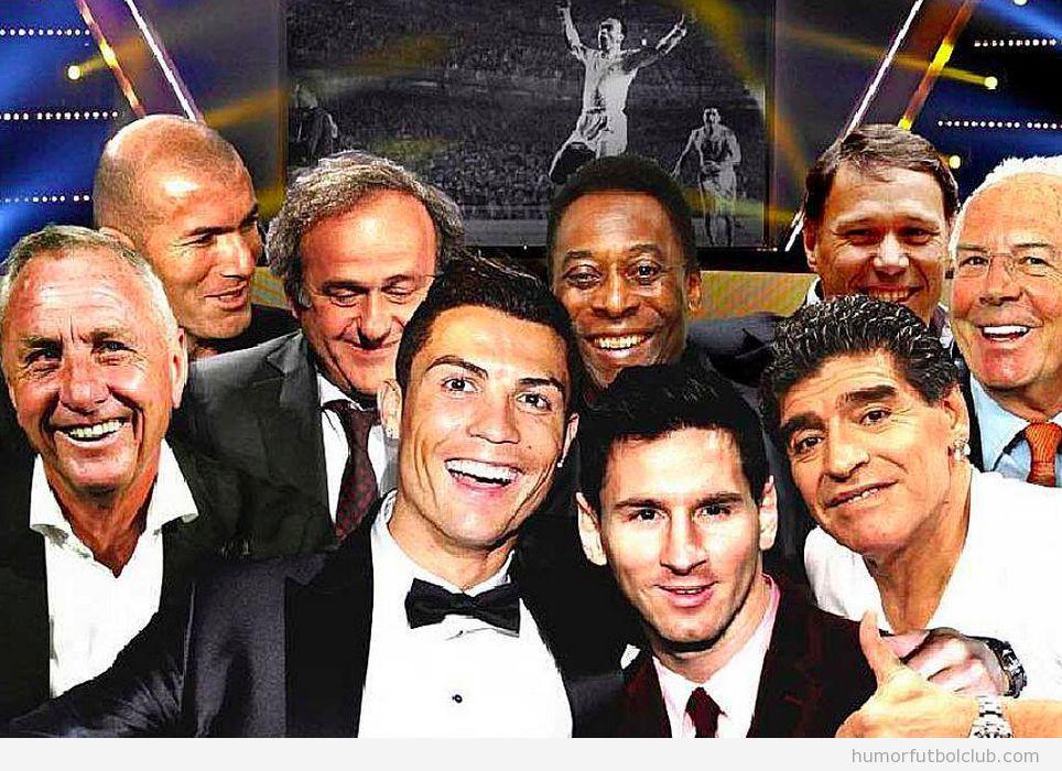 Fotomontaje de un selfie de futbolistas míticos