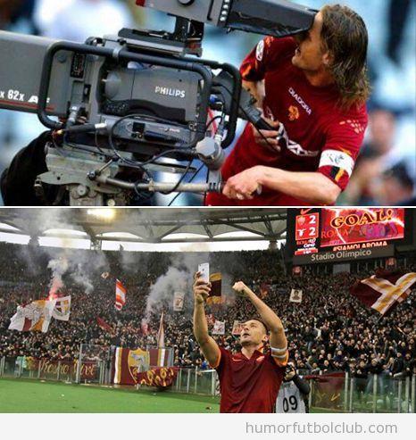 Selfie de Totti para celebrar un gol