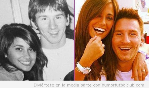 Foto bonita Messi y su novia de jóvenes