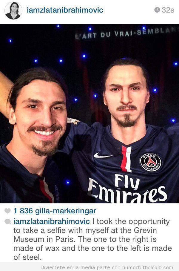 Frase en -Instagram de Ibrahimovic con su muñeco de cera París