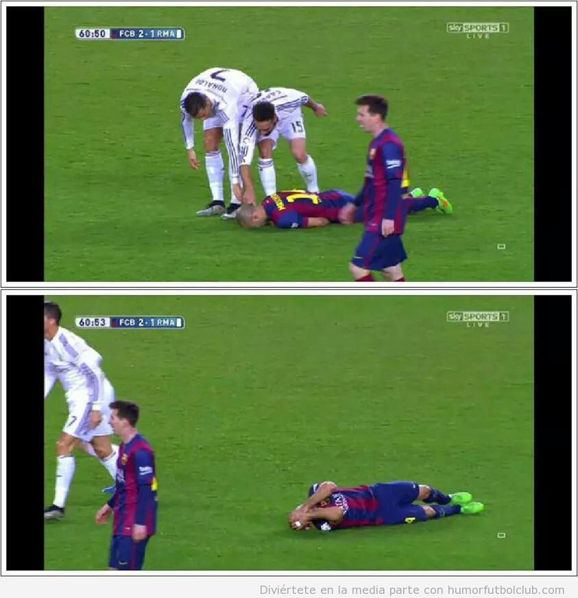 Meme gracioso jugaodres Madrid levantando a Mascherano