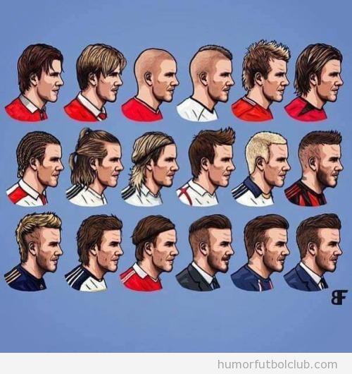 Viñeta con todos los peinados de Beckham