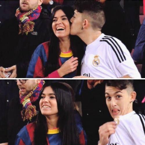Foto graciosa novios enfrentados por el Real Madrdçid - Barça