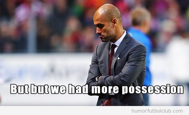 Meme gracioso Pep Guardiola tras perder 3-1 ante el Oporto