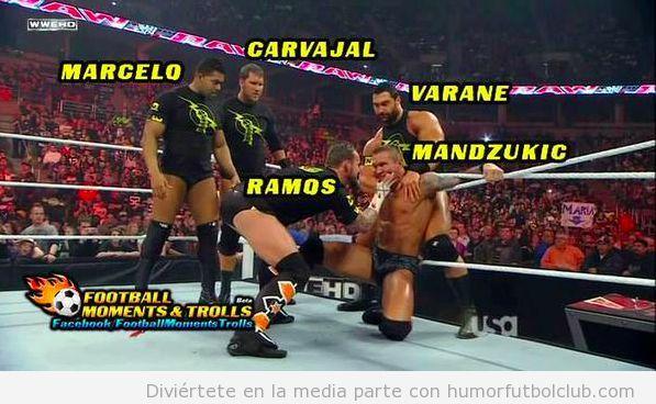 Meme gracioso jugadores Real Madrid de Champions ante Mandzukic