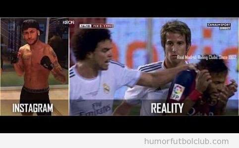 Meme gracioso, Instagram vs Realidad versión Neymar