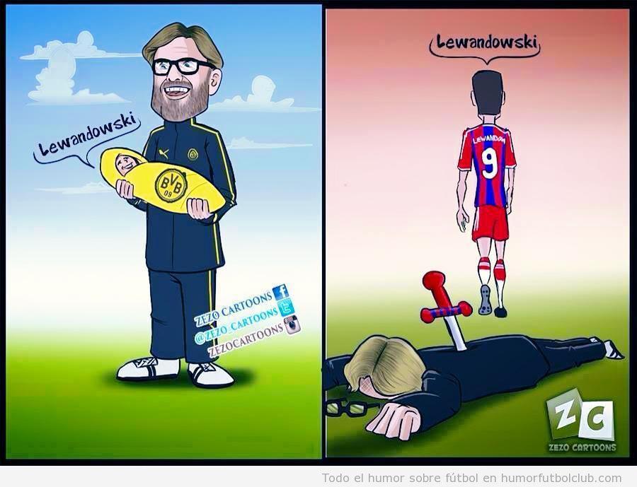 Viñeta graciosa traición de Lewandowski a Klopp