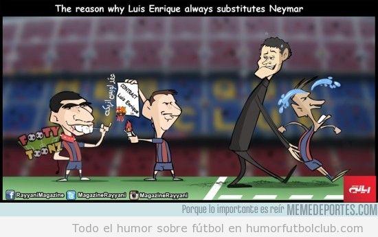 Viñeta graciosa, Luis Enrique cambia a Neymar