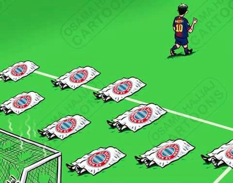 Viñeta graciosa Messi en Bayern Munich vs Barça en Champions League