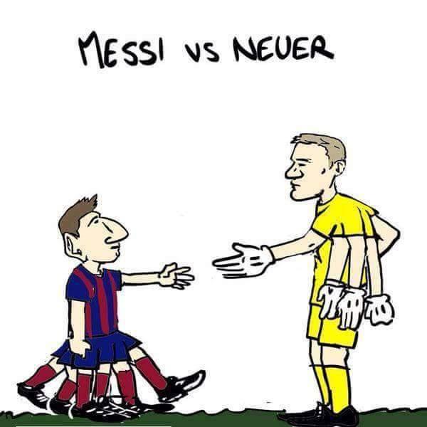 Vieñta graciosa Messi vs Neuer con cien pies y cien manos