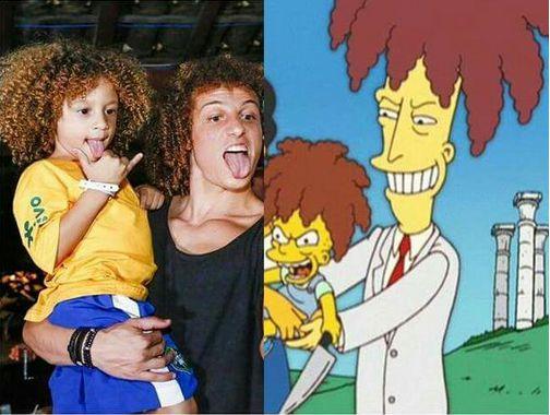 David Luiz y un niño, parecido razonable con Actor Secundario Bob y su hijo