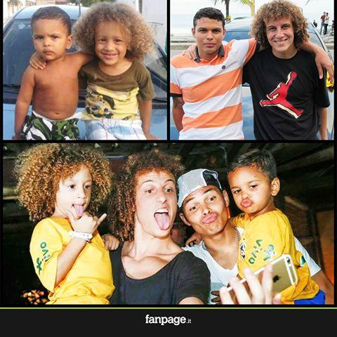 Foto gracisoa David Luiz y Thiago Silva con niños parecido razonable