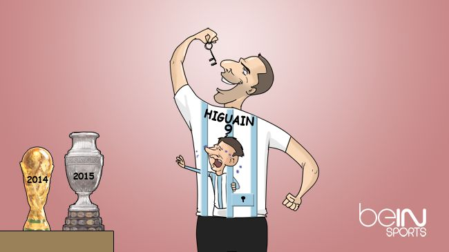 Viñeta graciosa Higuaín y  Messi en final Copa América 2015