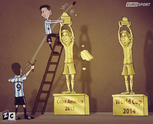 Viñeta graciosa Higuaín y Messi en Copa América