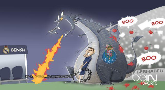 Viñeta de un dragón de Oporto que salva a Casillas