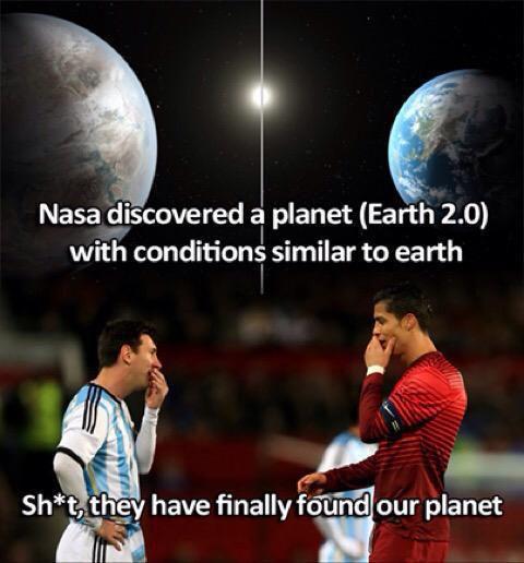Foto dos planetas habitables, uno para Messi y otro para Cristiano