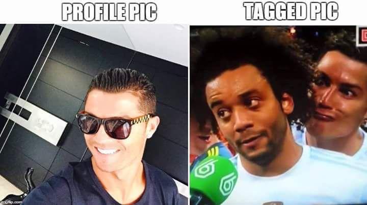 Meme gracioso Cristiano Ronaldo, foto de perfil vs tag en Facebook