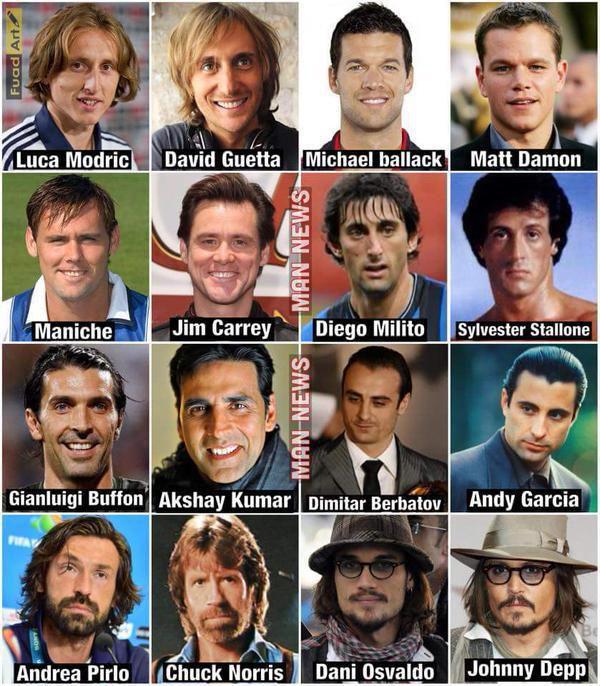 Parecido razonable jugadores fútbol y actores y famosos