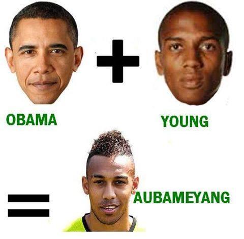 Parecidos razonables entre Obama, Young y aubameyang