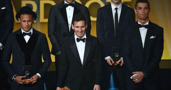 Foto grupo Balón de Oro 2015 con Neymar, Messi y Cristiano