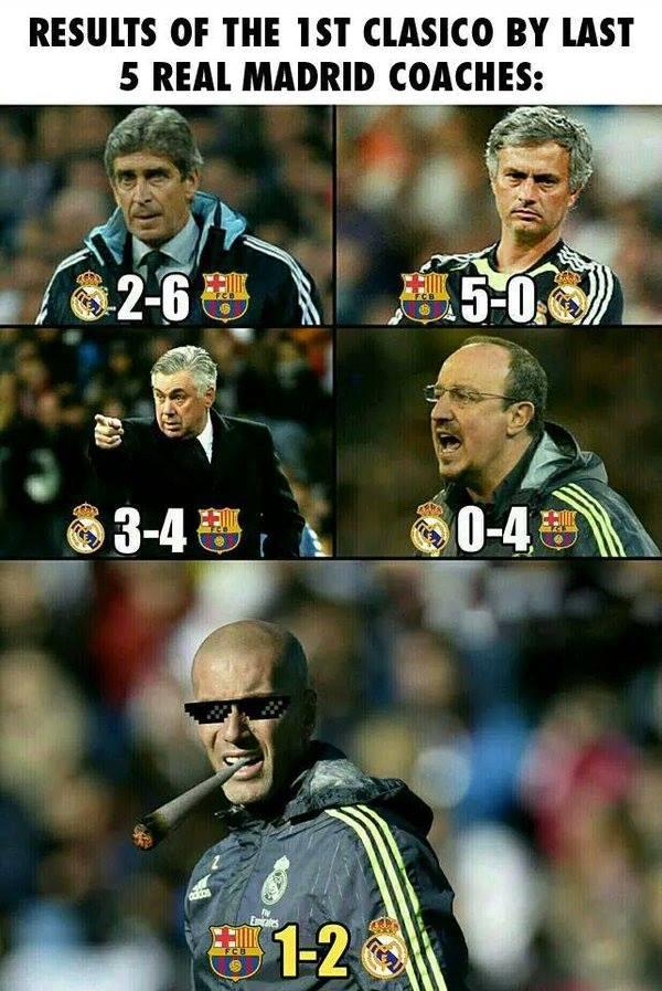 Meme gracioso Zidane después victoria Barça - Real Madrid