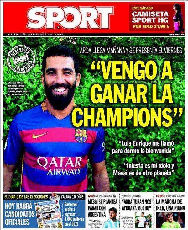 Portada Sport Arda Duran ganar Champions Barça