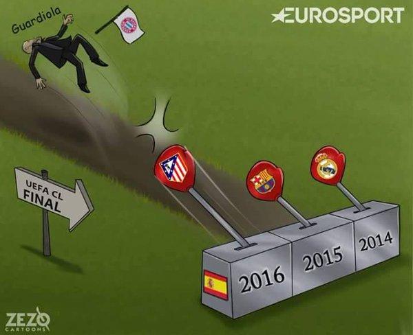 Viñeta graciosa equipos españoles y Pep Guardiola en la Champions League
