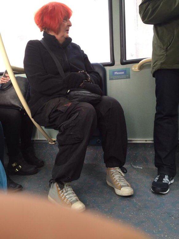 Roy Hodgson con peluca en el transporte público