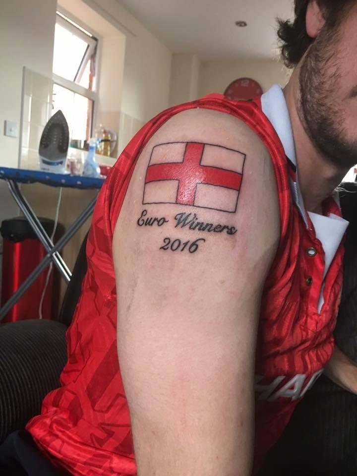 Tatuaje bandera inglaterra ganadores Eurocopa 2016