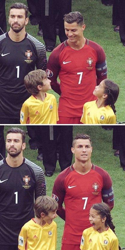 Foto bonita Cristiano Ronaldo y dos niños en Eurocopa 2016